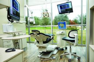 Treatment room overlooking windows
